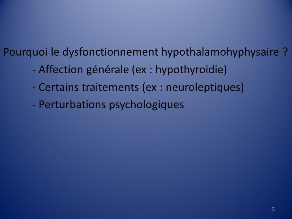 Pourquoi le dysfonctionnement hypothalamohyphysaire .