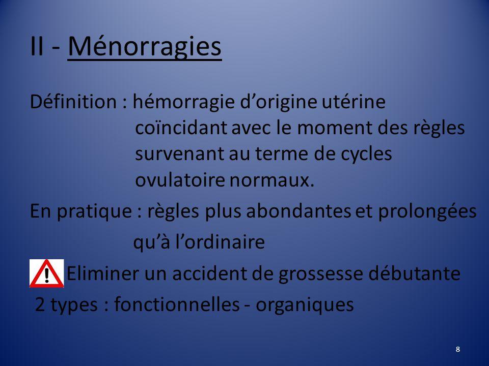 II - Ménorragies Définition : hémorragie d'origine utérine coïncidant avec le moment des règles survenant au terme de cycles ovulatoire normaux.