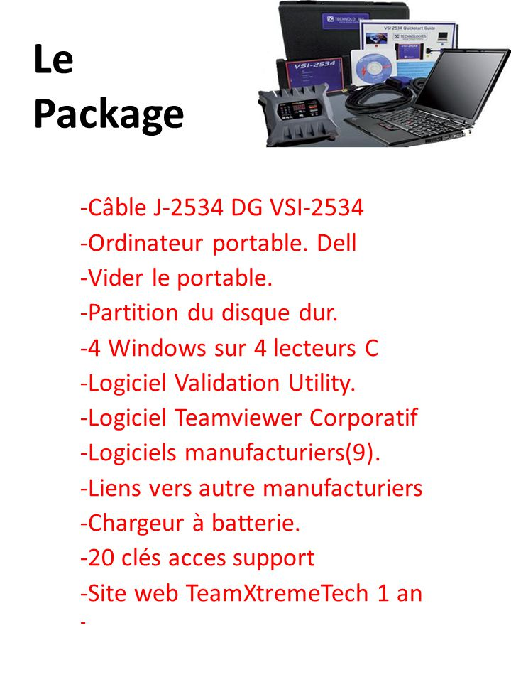 Le Package -Câble J-2534 DG VSI-2534 -Ordinateur portable.