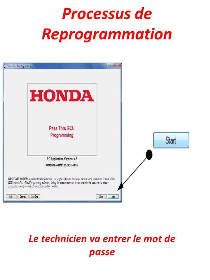 Processus de Reprogrammation Le technicien va entrer le mot de passe