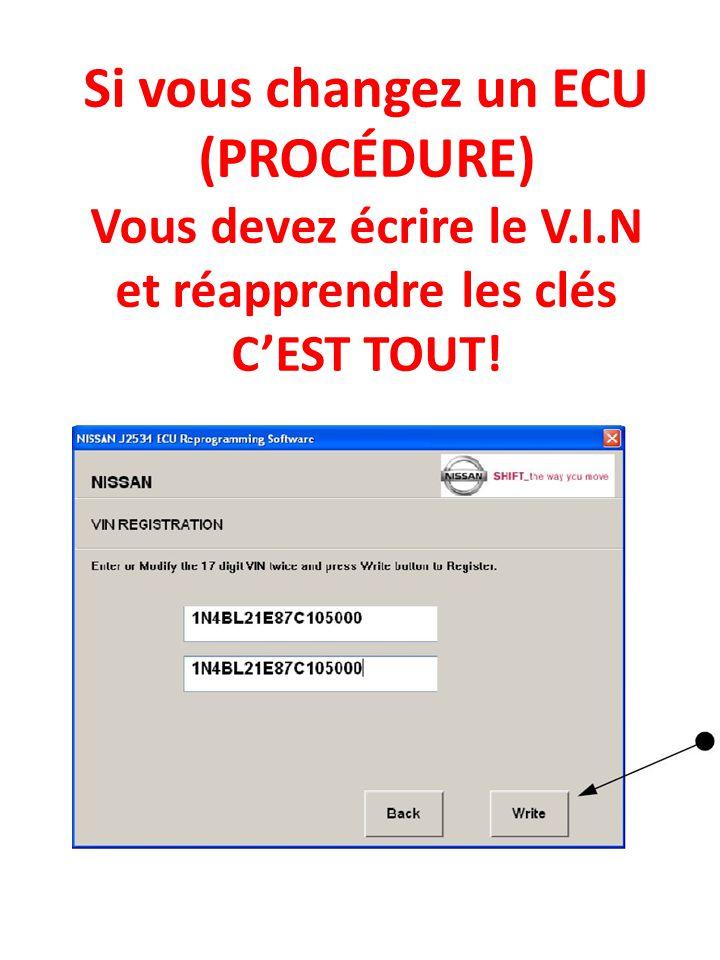 Si vous changez un ECU (PROCÉDURE) Vous devez écrire le V.I.N et réapprendre les clés C'EST TOUT!