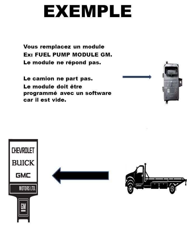 EXEMPLE Vous remplacez un module Ex: FUEL PUMP MODULE GM. Le module ne répond pas. Le camion ne part pas. Le module doit être programmé avec un softwa