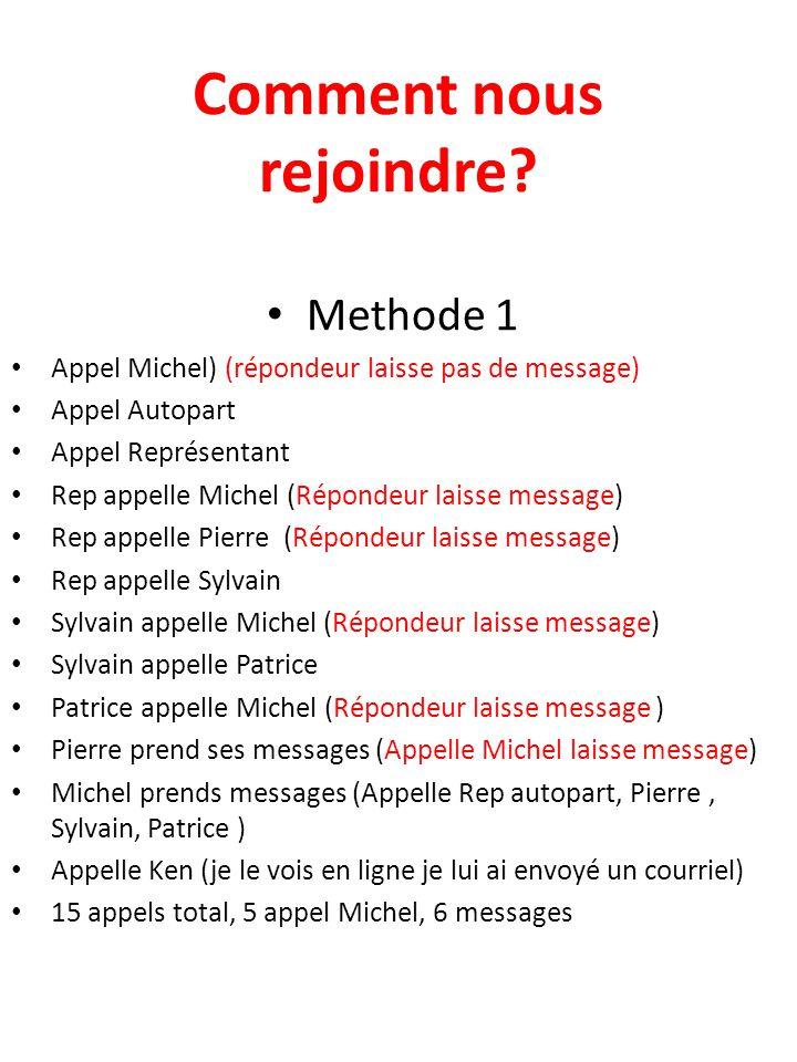 Comment nous rejoindre? Methode 1 Appel Michel) (répondeur laisse pas de message) Appel Autopart Appel Représentant Rep appelle Michel (Répondeur lais