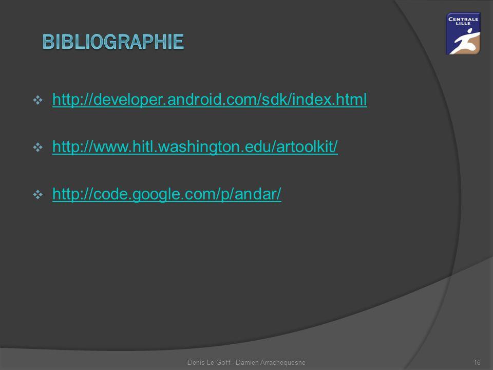  http://developer.android.com/sdk/index.html http://developer.android.com/sdk/index.html  http://www.hitl.washington.edu/artoolkit/ http://www.hitl.washington.edu/artoolkit/  http://code.google.com/p/andar/ http://code.google.com/p/andar/ Denis Le Goff - Damien Arrachequesne16