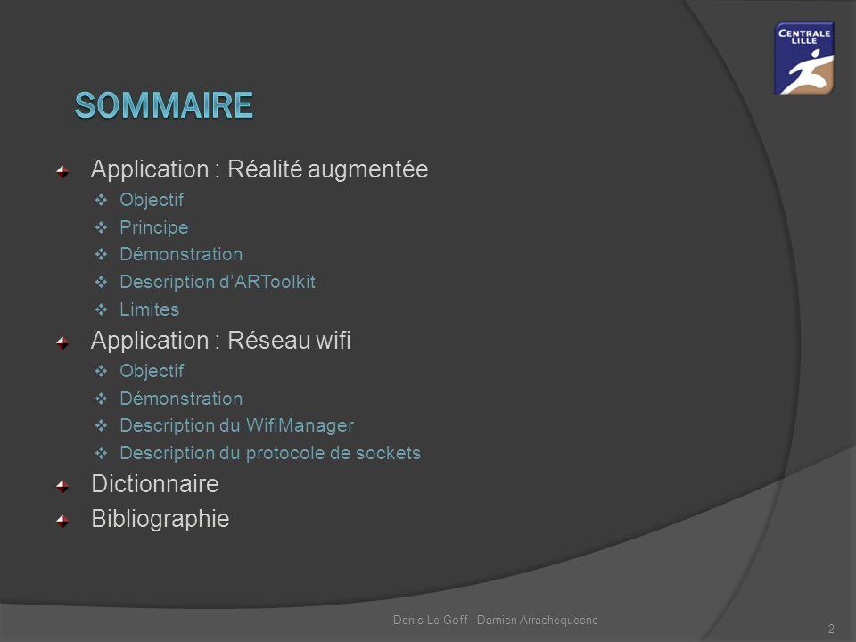 Application : Réalité augmentée  Objectif  Principe  Démonstration  Description d'ARToolkit  Limites Application : Réseau wifi  Objectif  Démon