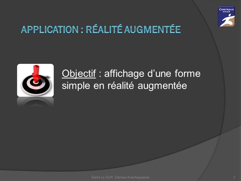 Objectif : affichage d'une forme simple en réalité augmentée Denis Le Goff - Damien Arrachequesne3