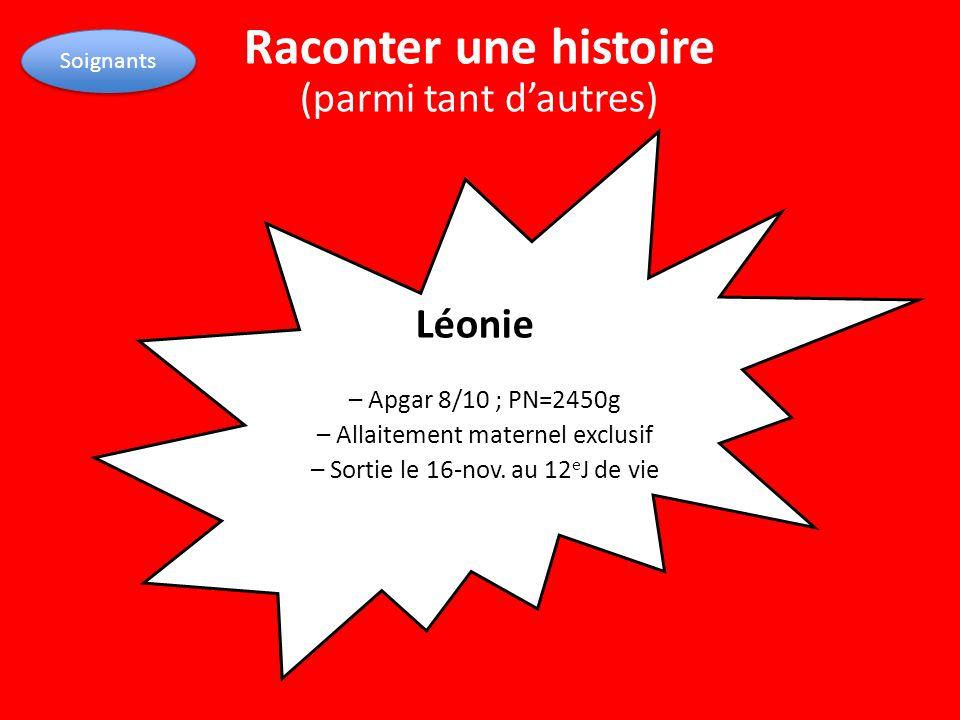Léonie – Apgar 8/10 ; PN=2450g – Allaitement maternel exclusif – Sortie le 16-nov. au 12 e J de vie Soignants Raconter une histoire (parmi tant d'autr