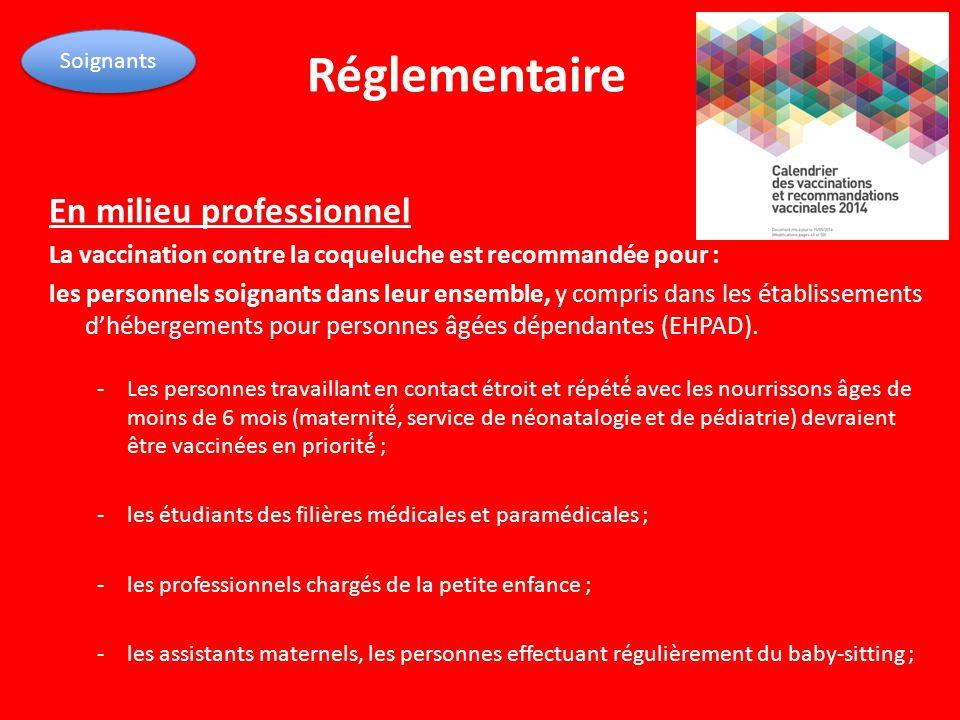 Réglementaire En milieu professionnel La vaccination contre la coqueluche est recommandée pour : les personnels soignants dans leur ensemble, y compri