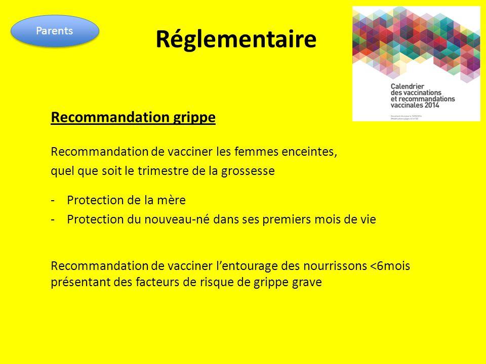 Réglementaire Recommandation grippe Recommandation de vacciner les femmes enceintes, quel que soit le trimestre de la grossesse - Protection de la mèr