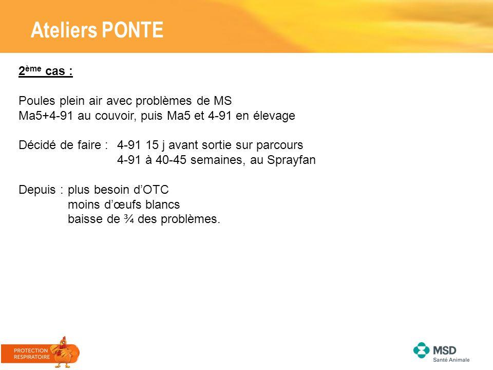 Ateliers PONTE 2 ème cas : Poules plein air avec problèmes de MS Ma5+4-91 au couvoir, puis Ma5 et 4-91 en élevage Décidé de faire : 4-91 15 j avant so