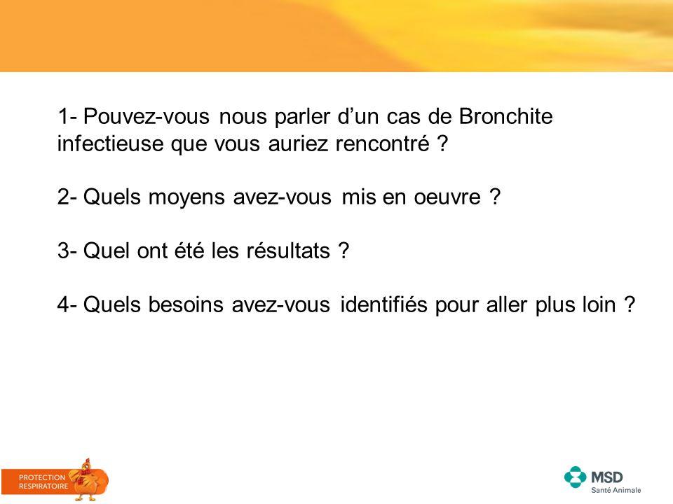 1- Pouvez-vous nous parler d'un cas de Bronchite infectieuse que vous auriez rencontré ? 2- Quels moyens avez-vous mis en oeuvre ? 3- Quel ont été les