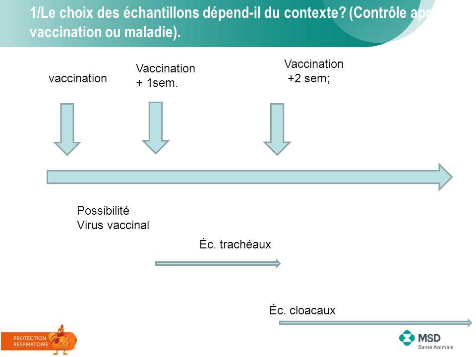 1/Le choix des échantillons dépend-il du contexte? (Contrôle après vaccination ou maladie). Vaccination +2 sem; Possibilité Virus vaccinal Vaccination