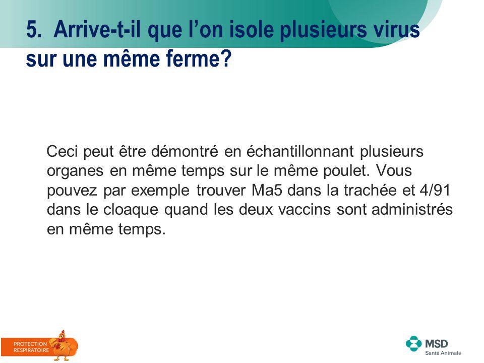 5. Arrive-t-il que l'on isole plusieurs virus sur une même ferme? Ceci peut être démontré en échantillonnant plusieurs organes en même temps sur le mê