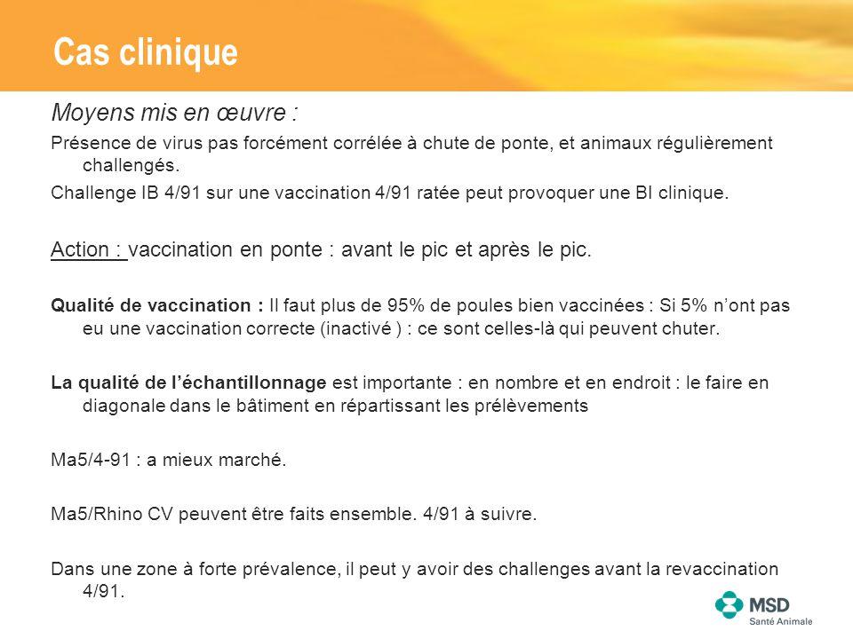 Cas clinique Moyens mis en œuvre : Présence de virus pas forcément corrélée à chute de ponte, et animaux régulièrement challengés. Challenge IB 4/91 s