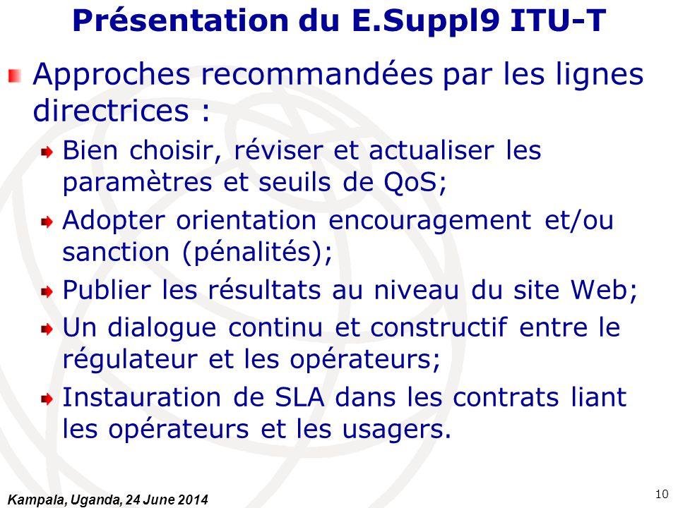 Présentation du E.Suppl9 ITU-T Approches recommandées par les lignes directrices : Bien choisir, réviser et actualiser les paramètres et seuils de QoS