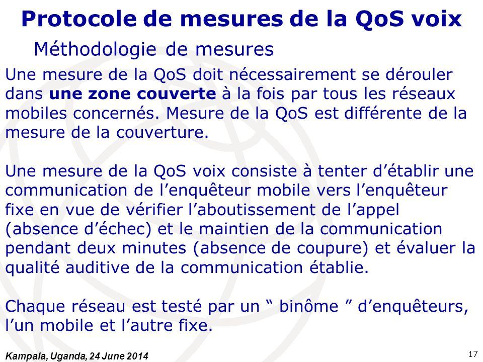 Protocole de mesures de la QoS voix Méthodologie de mesures Une mesure de la QoS doit nécessairement se dérouler dans une zone couverte à la fois par