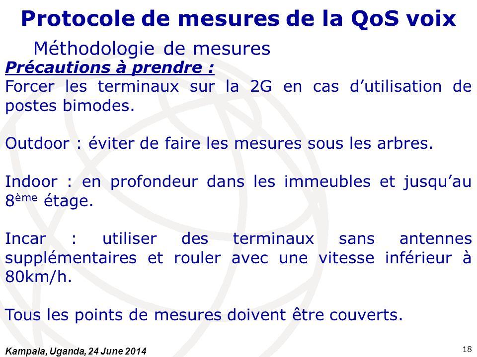Protocole de mesures de la QoS voix Méthodologie de mesures Précautions à prendre : Forcer les terminaux sur la 2G en cas d'utilisation de postes bimo