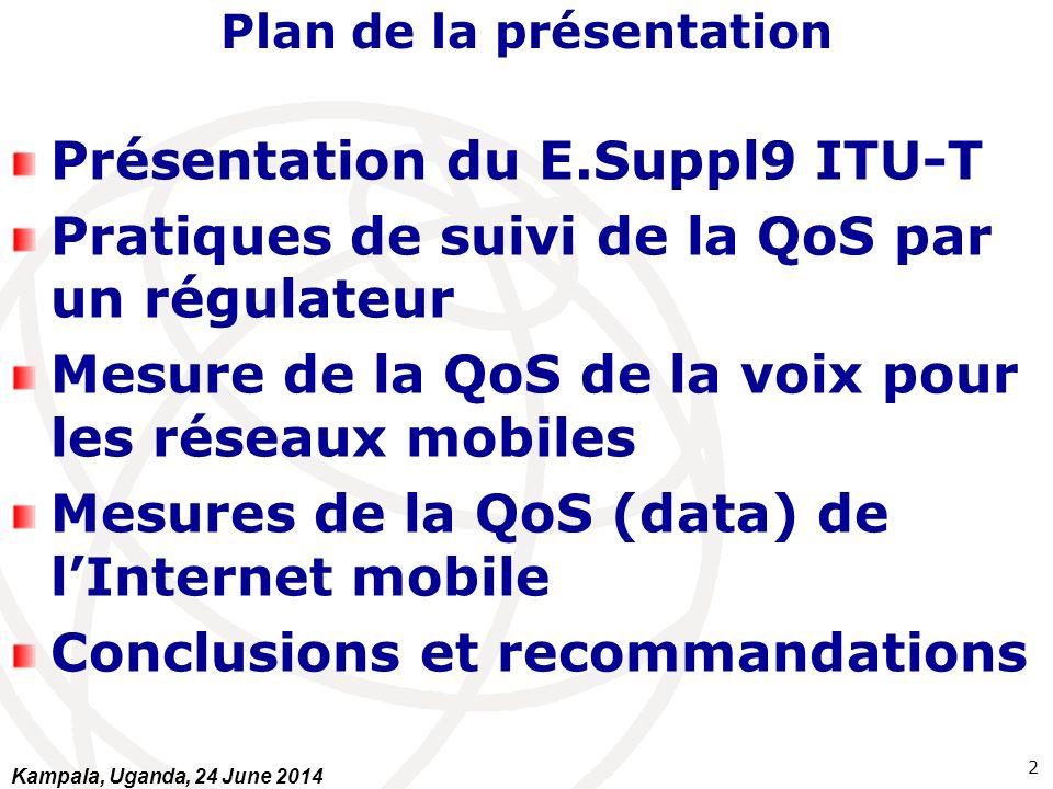 Plan de la présentation Présentation du E.Suppl9 ITU-T Pratiques de suivi de la QoS par un régulateur Mesure de la QoS de la voix pour les réseaux mob