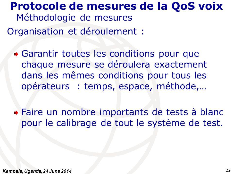 Protocole de mesures de la QoS voix Méthodologie de mesures Organisation et déroulement : Garantir toutes les conditions pour que chaque mesure se dér