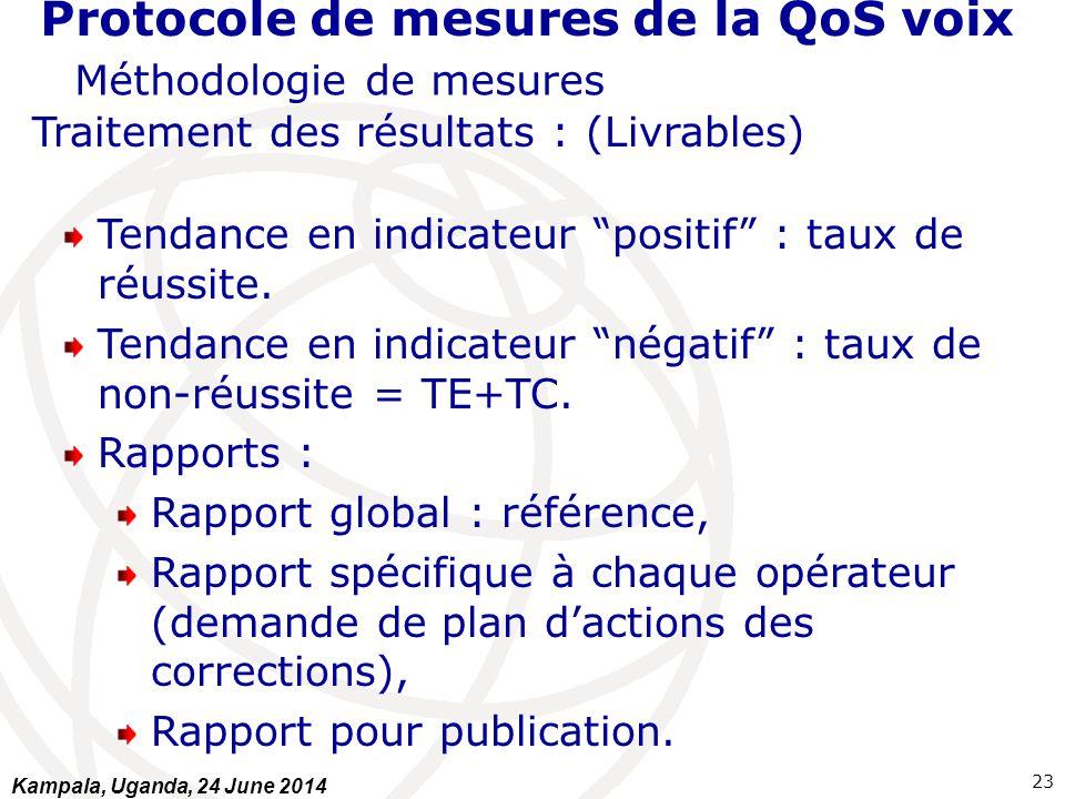 """Protocole de mesures de la QoS voix Méthodologie de mesures Traitement des résultats : (Livrables) Tendance en indicateur """"positif"""" : taux de réussite"""