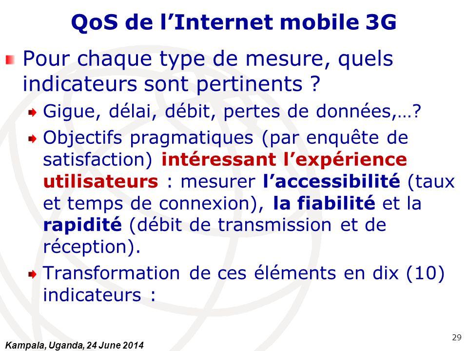 QoS de l'Internet mobile 3G Pour chaque type de mesure, quels indicateurs sont pertinents ? Gigue, délai, débit, pertes de données,…? Objectifs pragma