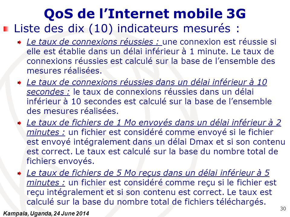QoS de l'Internet mobile 3G Liste des dix (10) indicateurs mesurés : Le taux de connexions réussies : une connexion est réussie si elle est établie da