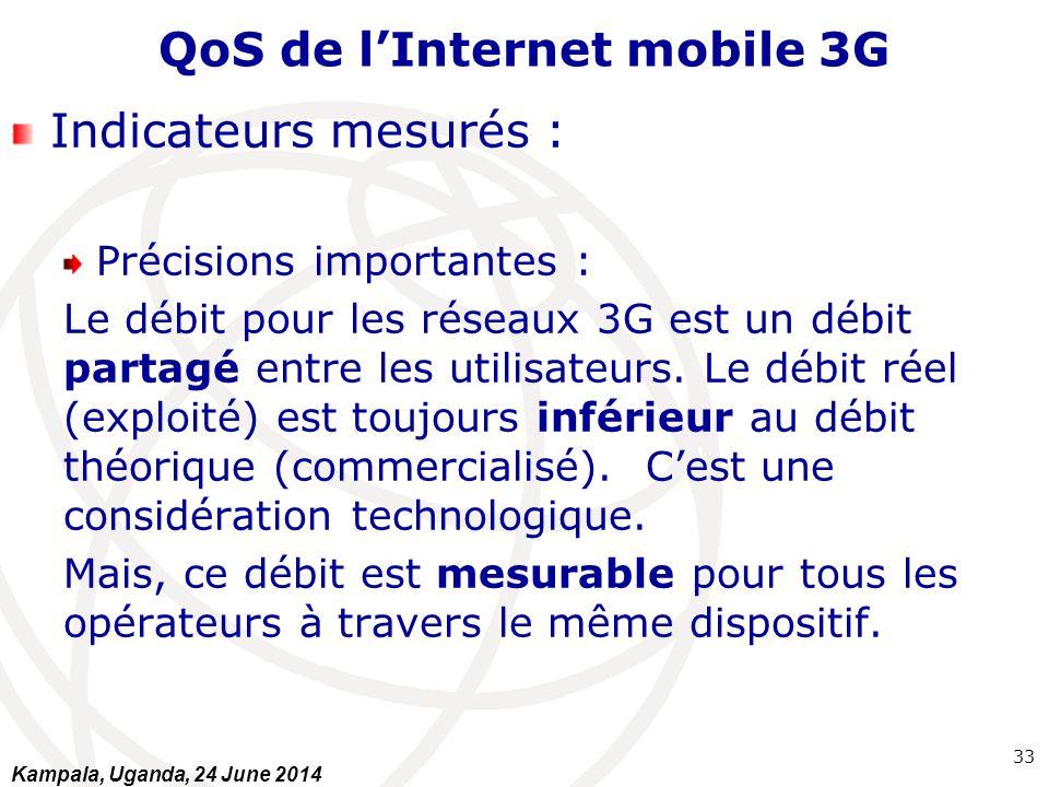 QoS de l'Internet mobile 3G Indicateurs mesurés : Précisions importantes : Le débit pour les réseaux 3G est un débit partagé entre les utilisateurs. L