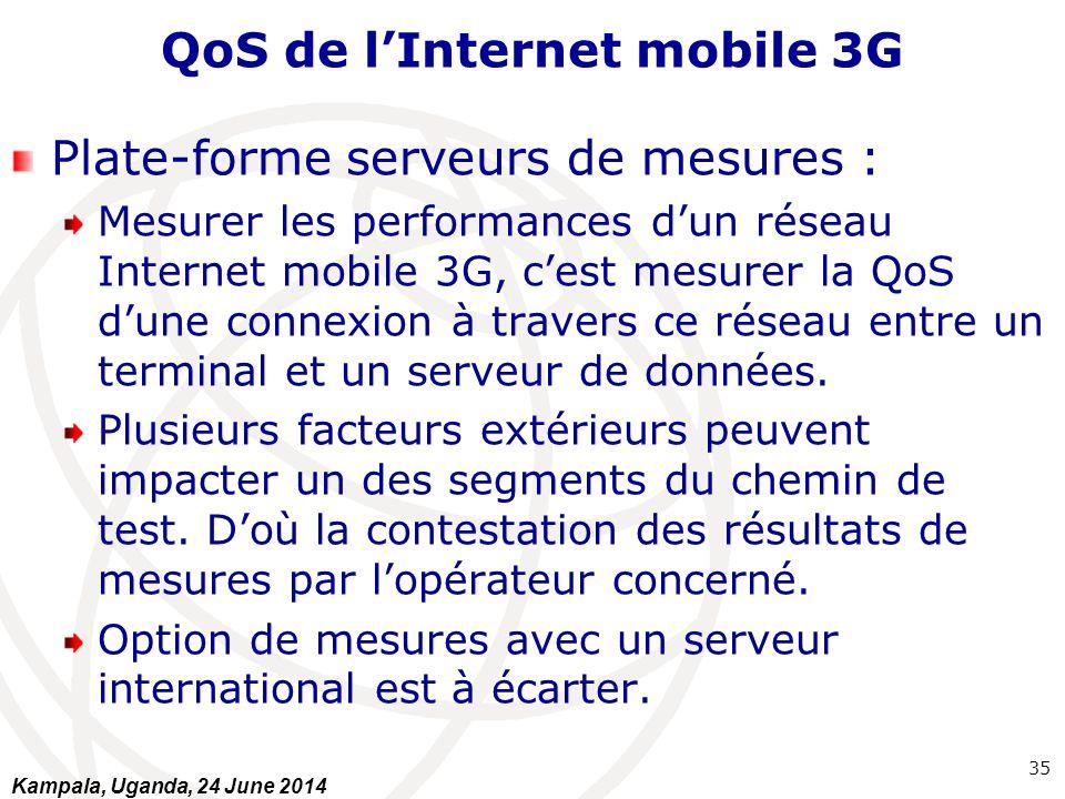 QoS de l'Internet mobile 3G Plate-forme serveurs de mesures : Mesurer les performances d'un réseau Internet mobile 3G, c'est mesurer la QoS d'une conn