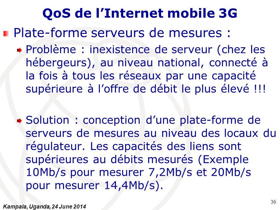 QoS de l'Internet mobile 3G Plate-forme serveurs de mesures : Problème : inexistence de serveur (chez les hébergeurs), au niveau national, connecté à