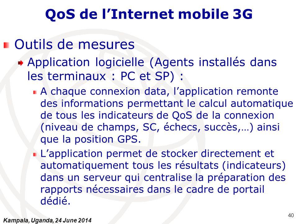 QoS de l'Internet mobile 3G Outils de mesures Application logicielle (Agents installés dans les terminaux : PC et SP) : A chaque connexion data, l'app