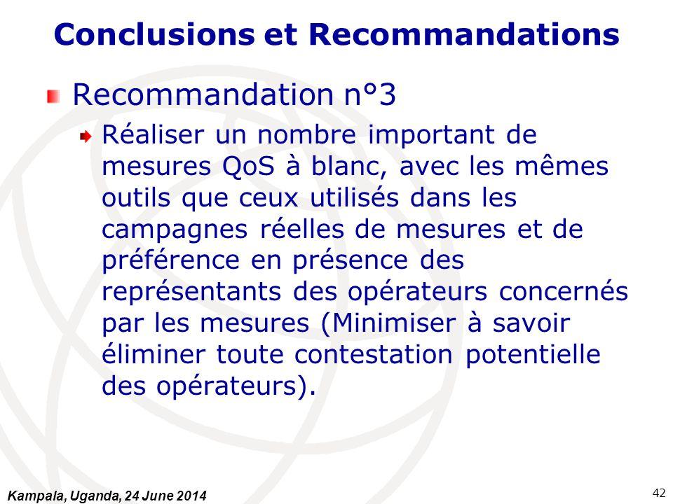 Conclusions et Recommandations Recommandation n°3 Réaliser un nombre important de mesures QoS à blanc, avec les mêmes outils que ceux utilisés dans le