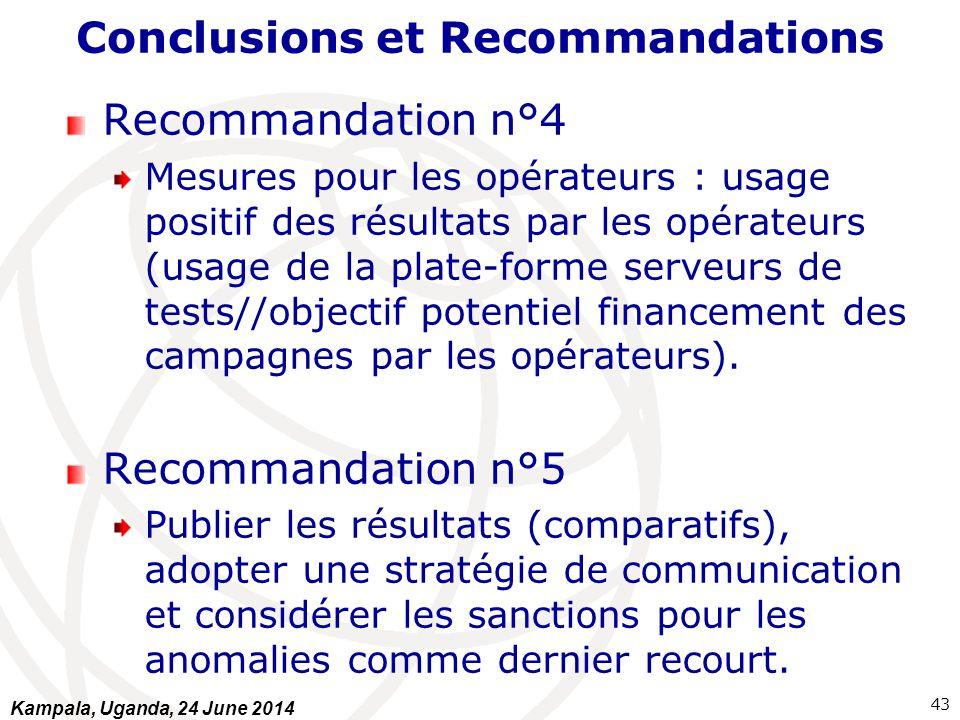 Conclusions et Recommandations Recommandation n°4 Mesures pour les opérateurs : usage positif des résultats par les opérateurs (usage de la plate-form