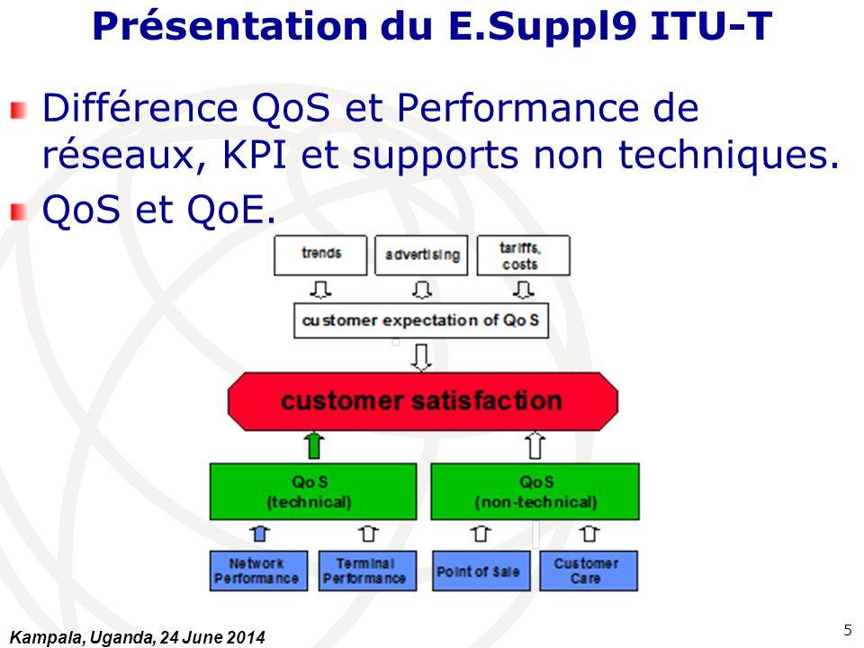 Présentation du E.Suppl9 ITU-T Différence QoS et Performance de réseaux, KPI et supports non techniques. QoS et QoE. 5 Kampala, Uganda, 24 June 2014