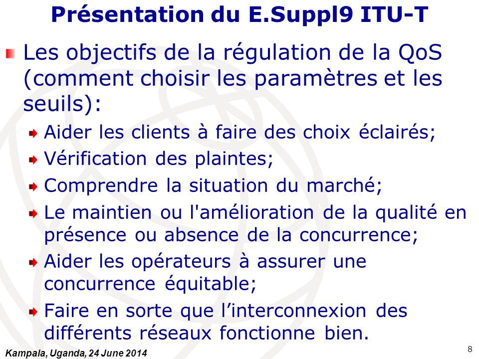 Présentation du E.Suppl9 ITU-T Les objectifs de la régulation de la QoS (comment choisir les paramètres et les seuils): Aider les clients à faire des