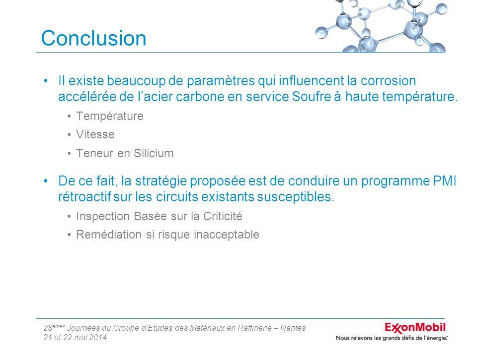 28 èmes Journées du Groupe d'Etudes des Matériaux en Raffinerie – Nantes 21 et 22 mai 2014 Conclusion Il existe beaucoup de paramètres qui influencent la corrosion accélérée de l'acier carbone en service Soufre à haute température.