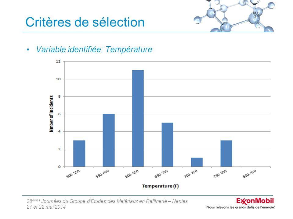 28 èmes Journées du Groupe d'Etudes des Matériaux en Raffinerie – Nantes 21 et 22 mai 2014 Critères de sélection Variable identifiée: Température