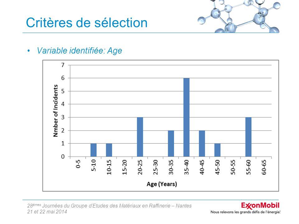 28 èmes Journées du Groupe d'Etudes des Matériaux en Raffinerie – Nantes 21 et 22 mai 2014 Critères de sélection Variable identifiée: Age