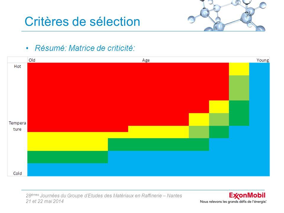 28 èmes Journées du Groupe d'Etudes des Matériaux en Raffinerie – Nantes 21 et 22 mai 2014 Critères de sélection Résumé: Matrice de criticité: