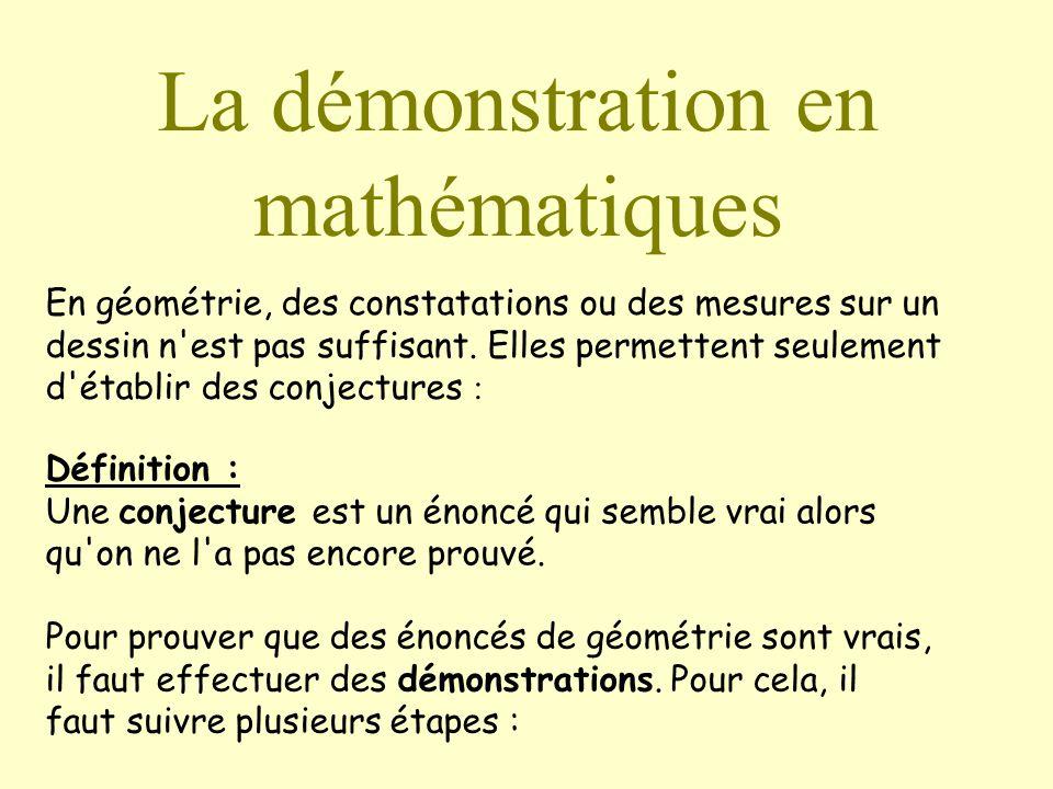 La démonstration en mathématiques En géométrie, des constatations ou des mesures sur un dessin n est pas suffisant.