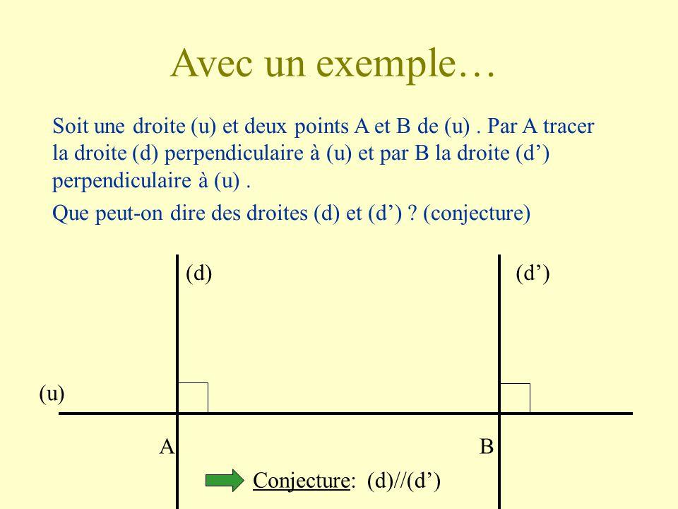 La démonstration en mathématiques En géométrie, des constatations ou des mesures sur un dessin n'est pas suffisant. Elles permettent seulement d'établ