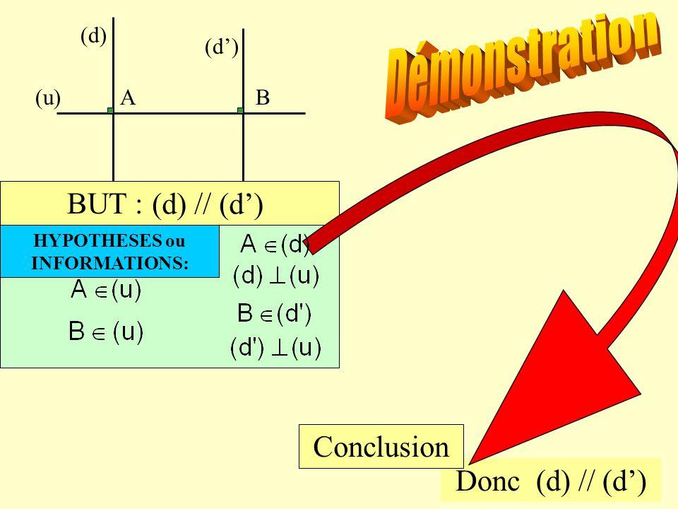 Avec un exemple… Soit une droite (u) et deux points A et B de (u). Par A tracer la droite (d) perpendiculaire à (u) et par B la droite (d') perpendicu