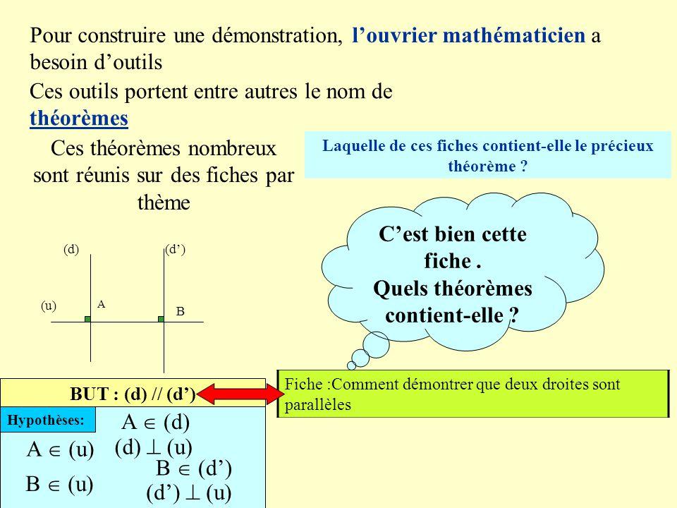 (u)AB (d) (d') BUT : HYPOTHESES ou INFORMATIONS: Donc (d) // (d') Conclusion (d) // (d')