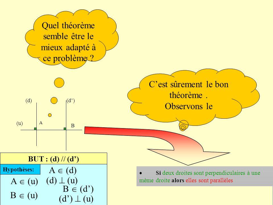 Pour construire une démonstration, l'ouvrier mathématicien a besoin d'outils Ces théorèmes nombreux sont réunis sur des fiches par thème Laquelle de c
