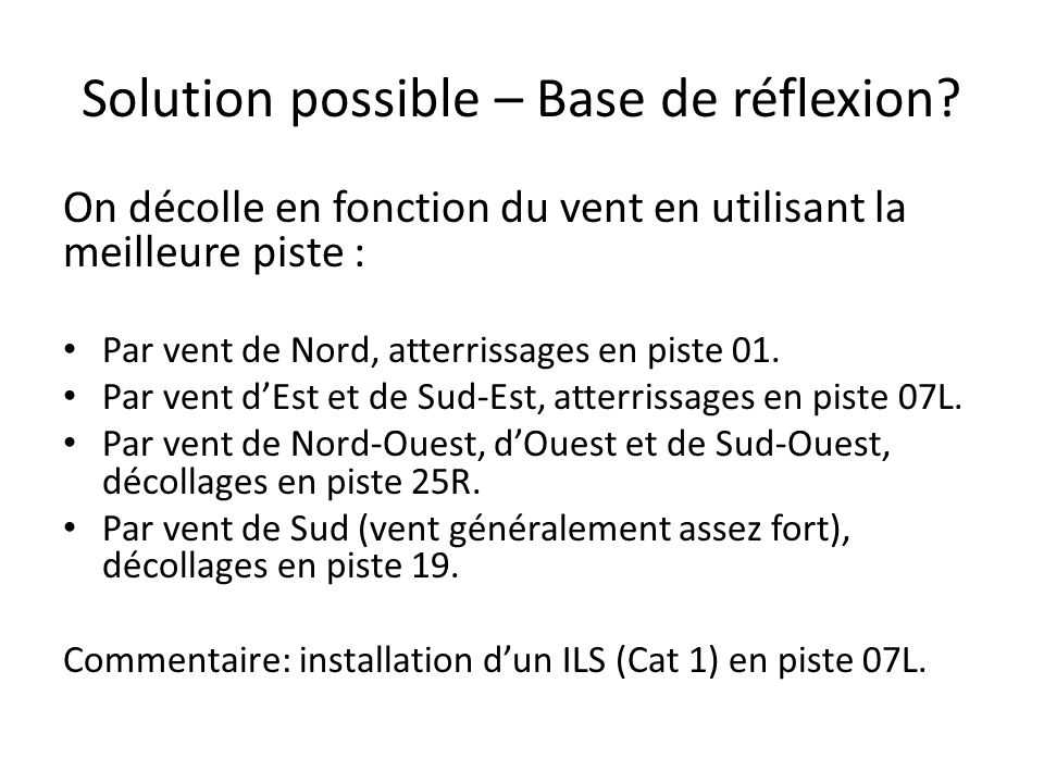 Solution possible – Base de réflexion.