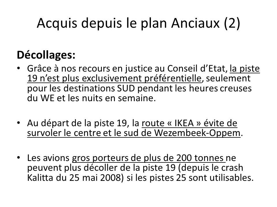 Acquis depuis le plan Anciaux (2) Décollages: Grâce à nos recours en justice au Conseil d'Etat, la piste 19 n'est plus exclusivement préférentielle, seulement pour les destinations SUD pendant les heures creuses du WE et les nuits en semaine.