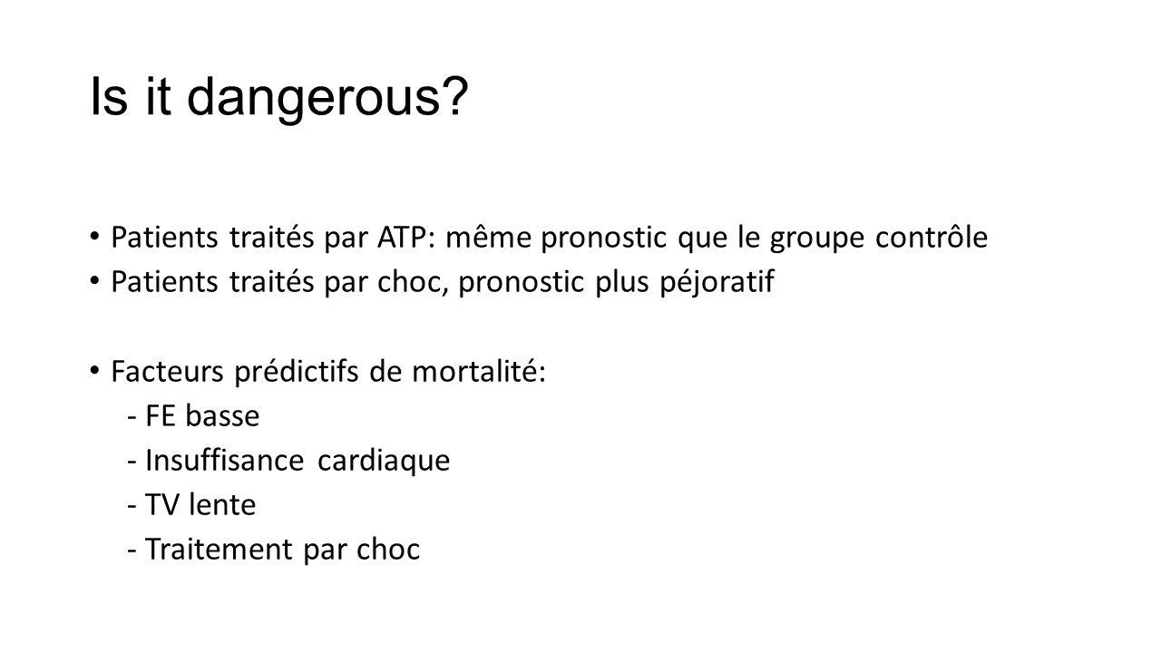 Is it dangerous? Patients traités par ATP: même pronostic que le groupe contrôle Patients traités par choc, pronostic plus péjoratif Facteurs prédicti