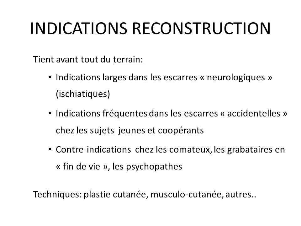 INDICATIONS RECONSTRUCTION Tient avant tout du terrain: Indications larges dans les escarres « neurologiques » (ischiatiques) Indications fréquentes d