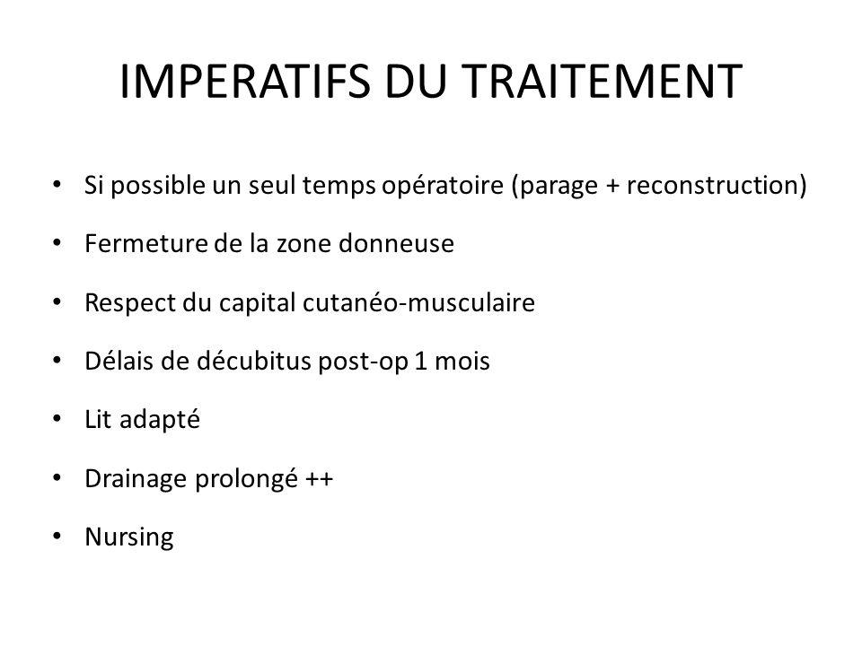 IMPERATIFS DU TRAITEMENT Si possible un seul temps opératoire (parage + reconstruction) Fermeture de la zone donneuse Respect du capital cutanéo-muscu