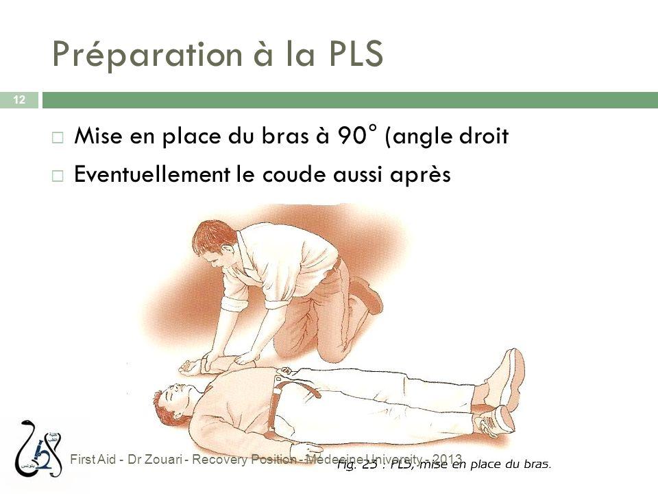 Préparation à la PLS 12  Mise en place du bras à 90° (angle droit  Eventuellement le coude aussi après First Aid - Dr Zouari - Recovery Position - M