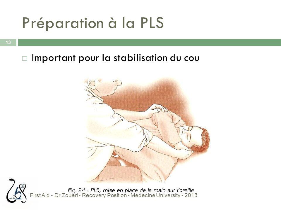Préparation à la PLS 13  Important pour la stabilisation du cou First Aid - Dr Zouari - Recovery Position - Medecine University - 2013